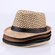 Vintage Cowboy Style Men's Braided Straw Hat triangle patchwork Gangster Panama Cap Summer Beach Travel Sunhat