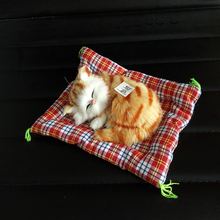 Cute Simulation Sleeping Cats Car Decoration Ornaments Press Sounding Lovely Plush Kittens Doll Toy Children Gifts Accessories(China)
