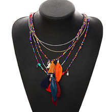 Multi-Color Feather Necklaces & Pendants Beads Chain Statement Necklace Women Collares Ethnic Jewelry for Personalised Gifts(China)