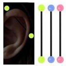 1 Piece 1.6x38x6mm 14G Fashion Soft Industrial Straight Barbell Glow in the Dark Ear Nail Flexible Earring Body Piercing Jewelry
