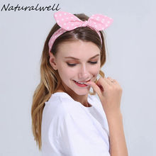 Naturalwell Girls Rabbit Ear Elastic Head Band Polka Dots Head Wrap Women top Knot Hair Accessories Lady Running Headband WH019