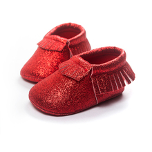 [Bosudhsou] R-3 Bling metallic Newborn Baby Boys Girls shoes Toddler Infant Tassel Baby Moccasins Children Clothing Soft-soled(China)