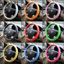 New auto car accessories steering wheel cover black leather textured silicone gloves (red / purple / brown / green / pink)(China)