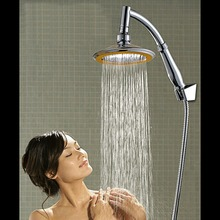 "new arrival 360 universal Chrome Finished Wall Mounted Brass Shower Arm 6"" Shower Head + 2 Conversion of rod"