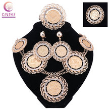 Fashion Italian Dubai Abaya Long Jewelry Sets Gold Coins Women African Gold Crystal Wedding Costume Necklace Earrings Set(China)