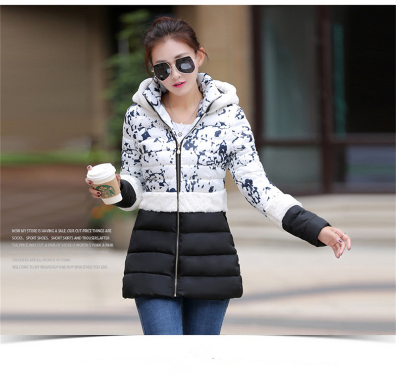 New 2017 Women Winter Jacket Long Down Coat The woman made of cotton Fashion Comfortable Coat patchwork pattern Jacket  WWF13Одежда и ак�е��уары<br><br><br>Aliexpress