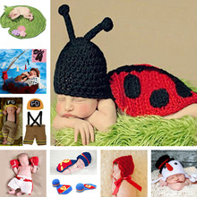 Lovely Ladybug Design Baby Crochet Photo Props Infant Baby Crochet Animal Hats Hand Knitted Costume 0-6M 1set MZS-14038