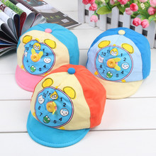 2017 New Baby Hat Button clock Cartoon Kids Baseball Hat Summer Baby Boy Sun Hats Cotton Caps Girls Visors 0-5M(China)