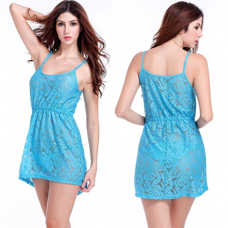 17 Adjustable Spaghetti Dress Tunic for Beach Slim Fit Waist Wrinkle Cover-Ups Sexy Women Plus Size Lace Tunic Beach Dress 7