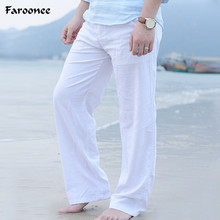 2017 High Quality Summer Men's Casual Pants Elastic Waist Solid Straight Cotton Linen Trousers Leisure Pants Plus Size 3XL Y2374