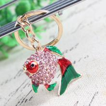 Lovely Fish Goldfish Crystal Charm Purse Handbag Car Key Keyring Keychain Party Wedding Birthday Gift(China)