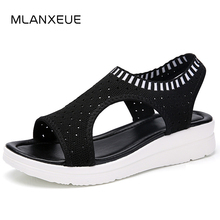 MLANXEUE Fashion Women Sandals For 2018 Breathable Comfort Shopping Ladies Walking Shoes Summer Platform Black Sandal Shoes (China)