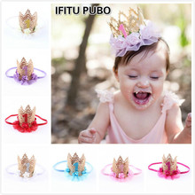 baby girl first birthday party cap hat decoration Headband hairband Princess Queen Crown lace Hair Band Elastic Headwear GYH
