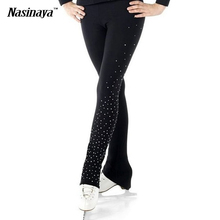 Customized Ice Figure Skating Costume Gymnastics Trousers Adult Child Competition Performance Pants Left Leg Rhinestone