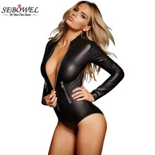 SEBOWEL Zipper Latex Wetlook Catsuit Gothic Faux Leather Bodysuit Cat Women Fetish PVC Teddy Lingerie Erotic Clubwear Costume