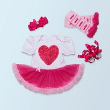 baby girl baby sets Infantil baby heart sets crown Girl Clothing Set 4pcs/set  Romper Dress Jumpersuit+Headband+Shoes+Kneepad