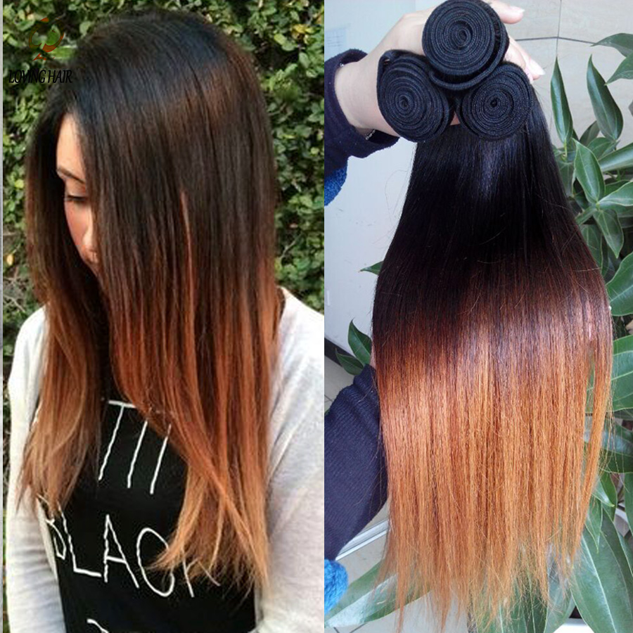 6A Grade Ombre Virgin Hair Straight Hair weaves 1 bundle Brazilian Vigin Human Hair Extension Raw Ombre Straight Soft 1B 4/30<br><br>Aliexpress