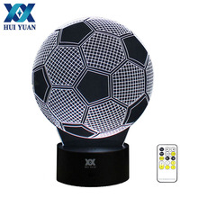 3D Illusion Football Remote Control LED Desk Table Night Light 7 Color Touch Lamp kids Family Holiday Gift Home HUI YUAN(China)