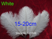 High Quality ! 100pcs/lot 15-20cm/6-8inch White ostrich feathers for wedding decoration, Free Shipping!(China)