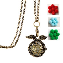 Clearance Angel wings steampunk womens necklaces jewelry Essential Oil Diffuser Necklace Perfume Lovely Pom Pom Ball Necklace