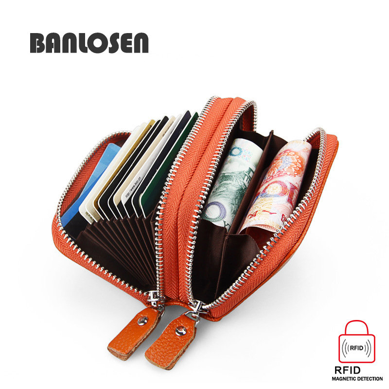 Genuine Leather Card Holders Wallets RFID Protection Double Zipper Design With Coin Purses Women Men Card Case Purses Bag(China)