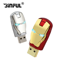128GB pen drive usb flash drive 64gb 16gb 32gb 8gb pendrive Super Hero Iron Man memory card Led pendrives High speed USB Disk(China)