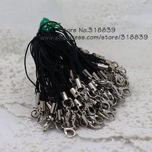 Jewelry Findings Rope Lobster Clasps Black Cell Phone Lanyard Cords Strap 67mm  100pcs 7905