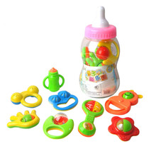 8Pcs Kids toys Baby Hand Shake Bell Ring Rattles Toy Gift Set with Giant Baby Bottle ( shape and color send by random )