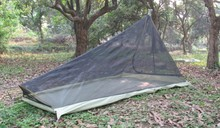 600G Ultralight Outdoor camping tent with mosquito net Summer 1-2 people Single tents travel without any poles bottom army green