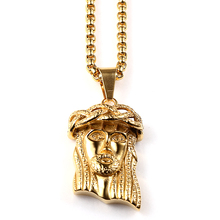 Mens Bling Titanium Steel Iced Out Jesus Piece necklaces Charm Silver plated Chain pendants Jesus Necklace Jewelry Gift