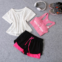 News 3 in 1 Running Yoga Suit Sport T-Shirt+Bra+Shorts Female Breathable Gym Jogging Sport Set Summer Quick Dry Girls Yoga Suits(China)