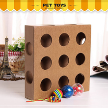 Pet Toy Cat Play Toy Box Cats Hide&Seek Box Scratching Toy Funny Platform Kitty Puzzle Toys With 3 Tittle Balls(China)