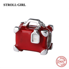 StrollGirl luxury suitcase charms with red enamel 925 silver trunk beads fit original pandora bracelet jewelry making women gift(China)