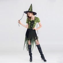 VASHEJIANG 2017 New sexy Witch Costume Halloween Party Witch Costume Women Sexy Swallow Tail Braces Performances Fancy Dress+Hat(China)