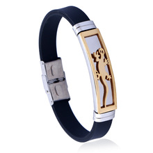 2017 New Gecko Bracelet Homme Adjustable Black Stainless Steel Animal Bangles for Men Rubber Hoop Armband Pulseras Mujer Gift(China)