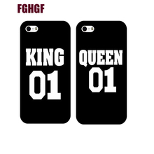 Queen King Brand Couple Case for iphone 5s 6 6splus 77plus unique boyfriend girlfriend gifts Cover for iphone 8 8plus x 5c(China)