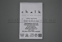 Custom satin care label printed wash care label white background with black color for garment