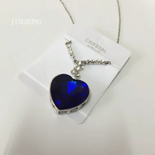 JingRong Brand Jewelry Dark Blue Titanic Necklace Heart of Ocean Pendants Memorial Marine The Peach Heart Crystal Necklace Male