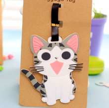 CUTE Chi's CAT 11.5CM Approx. Girl's Silicone Rubber Travel Luggage Tag Holder ; Luggage Label Name TAG Case(China)