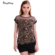 Singwing Hot Sale Summer Women Leopard Blouse Ladies Sexy Short Sleeve Blusas Femininas(China)