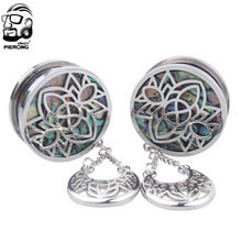 1 Pair 8mm-25mm Fashion Surgical Steel Crystal Dangle Screw Ear Plug Flesh Tunnel Ear Gauge Expander(China)