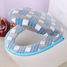 Bathroom Accessories Fall/Winter Toilet Seat Cover Warm Zipper Cover Toilet Seat Cotton Linter Travel Set Bath Mats Toilet(China)