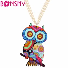 Bonsny Acrylic Owl Necklace Bird Pendant Chain Choker Animal Unique Fashion Jewelry For Women Girls Wholesale Accessories(China)