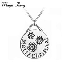 Magic Ikery 2016 New Fashion Snowflake Necklace Winter jewelry Simple Snowflake Best Friend Pendant Necklace MKA14