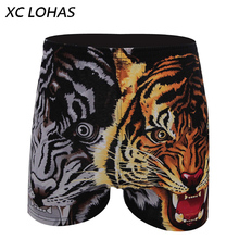 100% Cotton Men Boxer Loose Woven Arrow Pants Shorts Comfortable Soft Male Underwear Panties Cartoon Animal Designer Homewear(China)