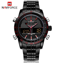 Men Watches NAVIFORCE 9024 Luxury Brand Full Steel Quartz Clock Digital LED Watch Army Military Sport Watch relogio masculino