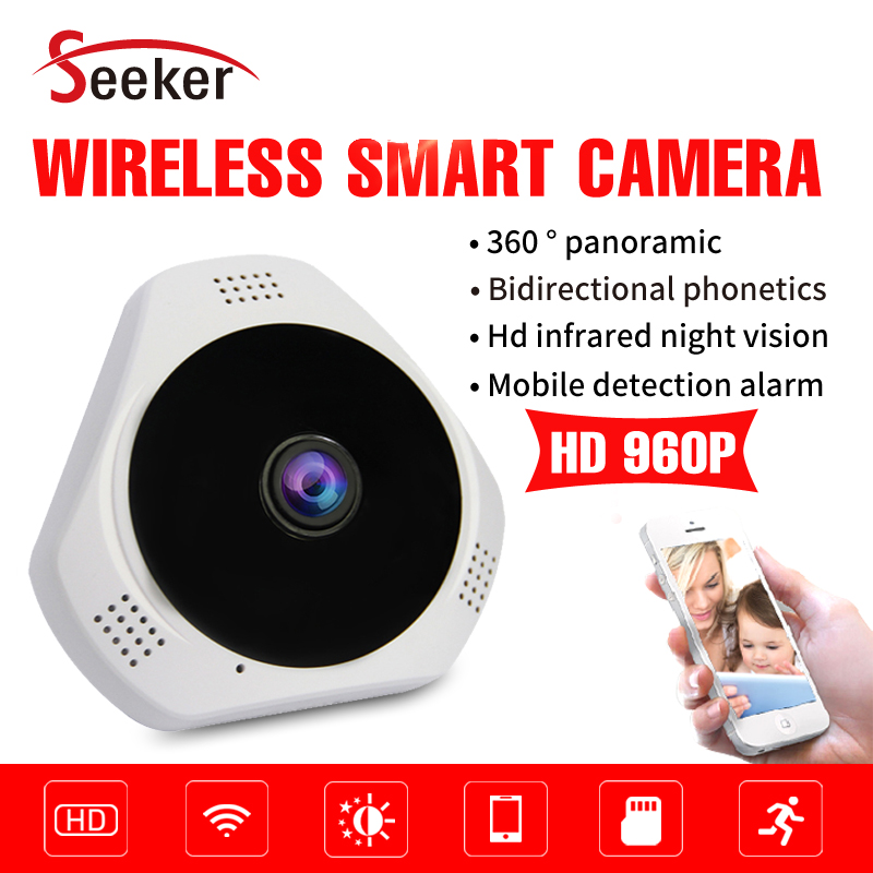 Free Shipping 360 Degree Panorama VR Camera HD 960P WIFI IP Camera Wireless Home Security Surveillance System P2P Cloud TF Card<br>