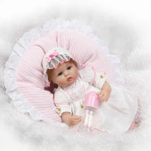 Buy 2017 Small Princess Baby Dolls Truly Soft Silicone 17 Inch Realistic Reborn Babies Girl wear White Dress Toy Kids Gifts