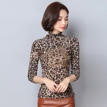Autumn Slim ladies Plus size 3XL 4XL 5XL 6XL sexy Leopard prints blouse shirt Women long sleeve Tops Women clothing D306(China)