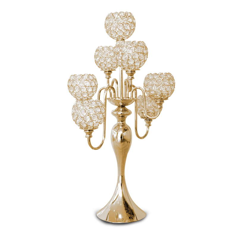 Crystal Gold Unity Candle Holder 5 Heads With Crystal Garlands